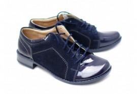 Pantofi dama piele naturala bleumarin cu siret cod P94BL
