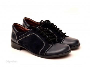 Poze Pantofi dama piele naturala negri cu siret cod P95N