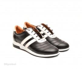 Poze Pantofi sport dama piele naturala negru cu alb cod P78 - Made in Romania