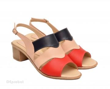 Poze Sandale dama din piele naturala toc 5 cm cod S50