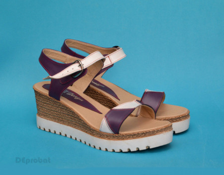 Poze Sandale dama mov cu alb cu platforma de 7 cm cm din piele naturala cod S59