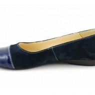 Balerini dama bleumarin din piele naturala cu varf lacuit cod B25