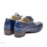 Pantofi albastri dama cu toc din piele naturala cod P359