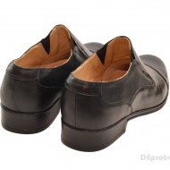 Pantofi barbati piele naturala negri casual-eleganti cu elastic cod P16EL
