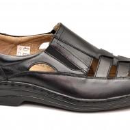Pantofi barbati piele naturala negri de vara cu elastic cod P20