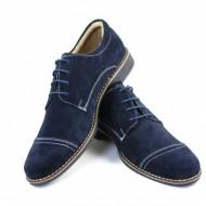 Pantofi barbati piele naturala velur bleumarin casual-eleganti cu siret cod P88BL