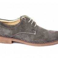 Pantofi barbati piele naturala velur gri casual-eleganti cu siret cod P25G