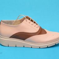 Pantofi dama bej casual-eleganti din piele naturala cod P174