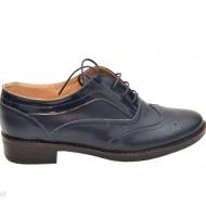 Pantofi dama bleumarin casual-eleganti din piele naturala Oxford cod P71BL