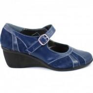 Pantofi dama bleumarin din piele naturala cu platforma cod P40BLM - Made in Romania