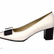 Pantofi dama cu toc aplicat din piele naturala cod P358