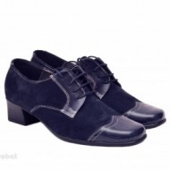 Pantofi dama eleganti bleumarin din piele naturala cu toc 4 cm cod P139BLM