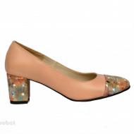 Pantofi dama eleganti cu toc imbracat din piele naturala bej cod P356