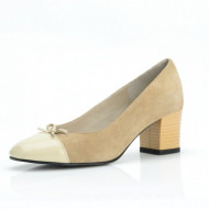 Pantofi dama eleganti din piele naturala bej velur cod P308