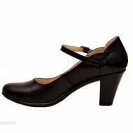 Pantofi dama eleganti din piele naturala negri cu toc de 7 cm cod P153N