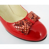 Pantofi dama eleganti din piele naturala rosii lacuiti cod P324