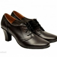 Pantofi dama eleganti negri din piele naturala cu toc 7 cm cod P136