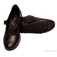Pantofi dama negri cu bareta din piele naturala cod P180N