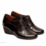 Pantofi dama negri din piele naturala tip botine cod G43 - LICHIDARE STOC 37