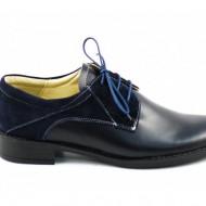 Pantofi dama piele naturala bleumarin cu siret cod P89BL - Made in Romania