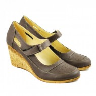 Pantofi dama piele naturala gri cu platforma cod P74G - Made in Romania