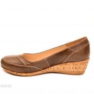 Pantofi dama piele naturala maro cu platforma cod P109