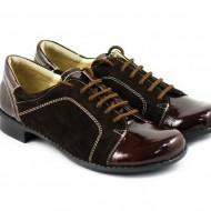 Pantofi dama piele naturala maro cu siret cod P94M