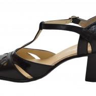 Pantofi dama piele naturala negri cu bareta cod P12 - Made in Romania