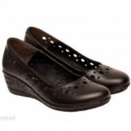 Pantofi dama piele naturala negri cu platforma cod P189
