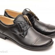 Pantofi dama piele naturala negri cu siret cod P48 - Made in Romania