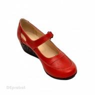 Pantofi dama piele naturala rosii cu platforma cod P15R - Made in Romania