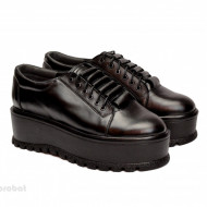 Pantofi negri dama cu talpa inalta 5,5 cm din piele naturala cod P187