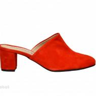Saboti velur rosii dama eleganti din piele naturala cod SB300R - Editie de LUX