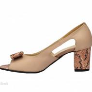 Sandale bej dama din piele naturala toc 5 cm cod S302