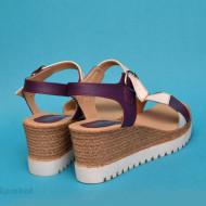 Sandale dama mov cu alb cu platforma de 7 cm cm din piele naturala cod S59