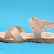 Sandale dama piele naturala bej cu talpa joasa cod S54