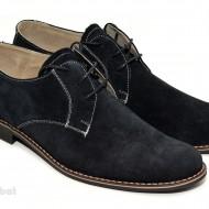 Pantofi barbati piele naturala velur negri casual-eleganti cu siret cod P25N