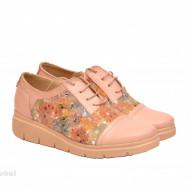 Pantofi dama bej casual lucrati manual din piele naturala cod P168