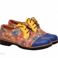 Pantofi dama colorati lucrati manual din piele naturala cod P152 Picasso