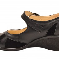 Pantofi dama negri din piele naturala cu platforma cod P40N - Made in Romania