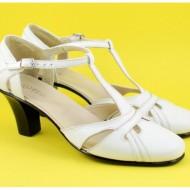 Pantofi dama piele naturala albi cu bareta cod P127 - Made in Romania