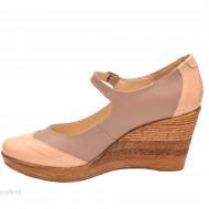 Pantofi dama piele naturala bej cu platforma cod P113