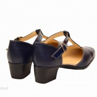 Pantofi dama piele naturala bleumarin cu bareta cod P26BLM