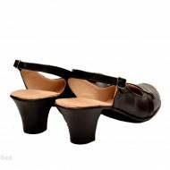 Pantofi dama piele naturala negri cu bareta lucrati manual cod P155