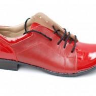 Pantofi dama piele naturala rosii cu siret cod P91