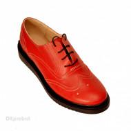 Pantofi dama rosii casual-eleganti din piele naturala Oxford cod P60R