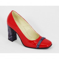 Pantofi dama rosii lacuiti din piele naturala cod P336