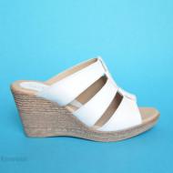 Papuci dama albi din piele naturala cu platforma cod PP15ALB