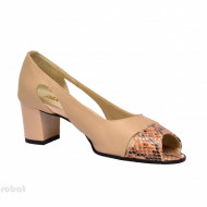 Sandale bej dama din piele naturala toc 5 cm cod S300