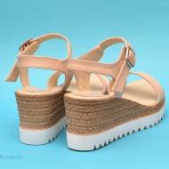 Sandale dama bej cu platforma din piele naturala cod S24BEJ
